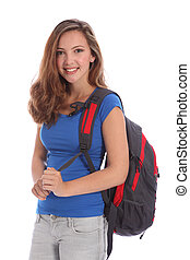 Smiling young teenager school girl with backpack - Beautiful...