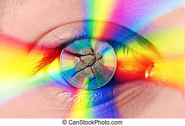 eye - A human eye with 2 euro broken coin by colored light