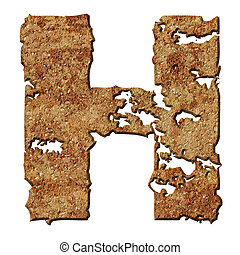 Rusted letters - Rusty letters with torn edge isolated on...