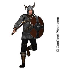 Fantasy Style Viking Warrior Attack - Viking Warrior with...