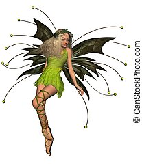 Spring Fairy in Green Dress - 2 - Pretty blonde Spring Fairy...