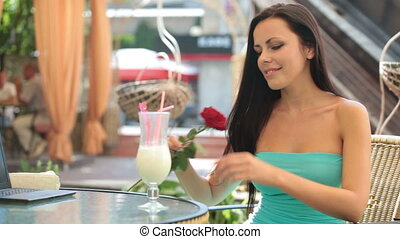 woman in a restaurant - Beautiful young woman in a...