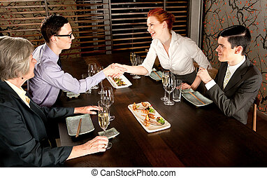 Introduction - Four people people meeting for lunch