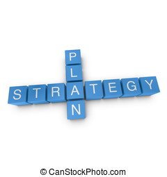 Strategy and plan 3D crossword on white background -...