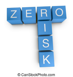 Zero risk 3D crossword on white background - Zero risk...