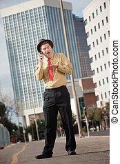 Surprised Businessman On Phone Call
