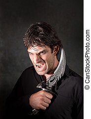 Vampire With Athame - Caucasian man with sharp knife yells...