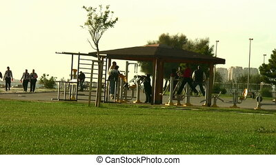 People exercising at a park