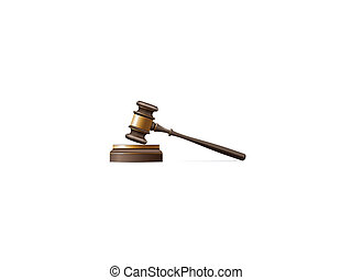 Judge gavel and sound block over white