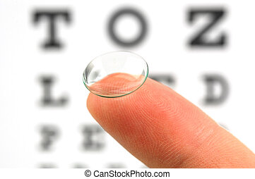Contact lens and eye test chart - Contact lens on finger and...