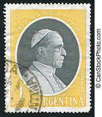 Pope Pius XII - ARGENTINA - CIRCA 1959: stamp printed by...