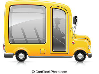 yellow bus vector illustration isolated on white background