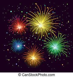 Fireworks - Various celebratory firework against the black...