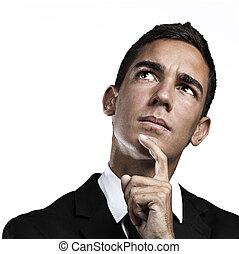 empresa / negocio, hombre, pensamiento