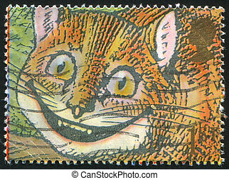 Cheshire Cat - GREAT BRITAIN - CIRCA 1991: stamp printed by...