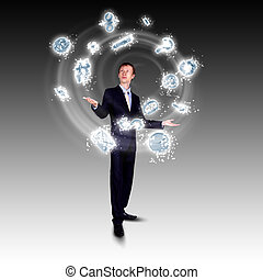 Business man juggling with numbers and symbols - businessman...