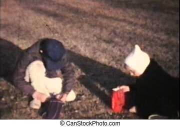 Kids Burning Leaves 1974 Vintage - Three siblings pick...