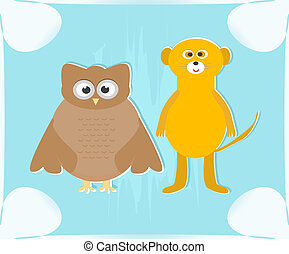 cute owl and lemur on blue background