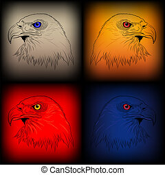 Set of vector eagles in various col