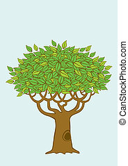 Illustration of the tree - Illustration of a tree with green...