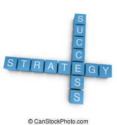Strategic success 3D crossword on white background -...