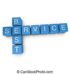 Best service 3D crossword on white background - Best service...