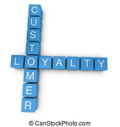 Customer loyalty 3D crossword on white background - Customer...