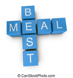 Best meal 3D crossword on white background - Best meal...