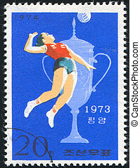 Volleyball - KOREA DPR - CIRCA 1974: stamp printed by Korea...