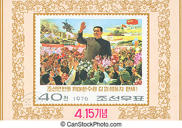 Kim Il-sung - KOREA - CIRCA 1976: stamp printed by Korea,...
