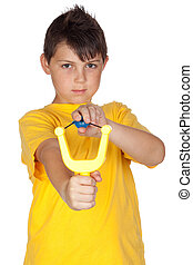 Bad boy with a slingshot isolated on white background