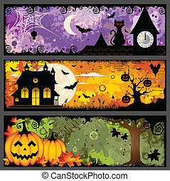 Halloween Banners - Vector set of three spooky grunge...