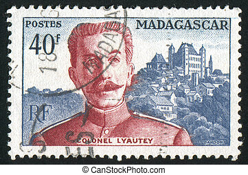Colonel Lyautey - MADAGASCAR - CIRCA 1954: stamp printed by...