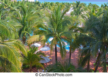 Pool deck at the luxurious tropical beach resort.