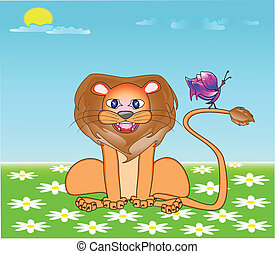 Lion with the butterfly on a meadow