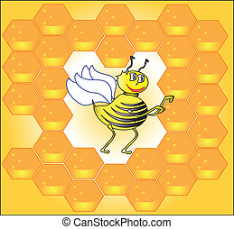 Bee and honeycombs - bee and honeycomb