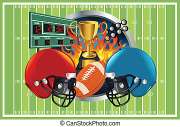 American football background - A vector illustration of an...