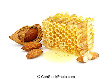 Honeycombs with almonds
