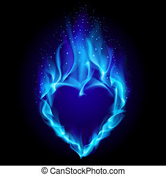 Heart in blue fire Illustration on black background for...