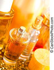macro shot of bottle perfume