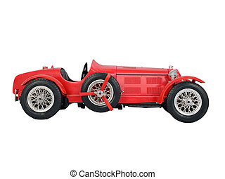 red vintage car isolated on white background