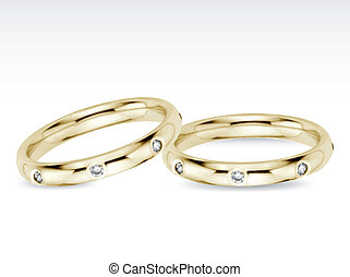 Two Wedding Diamond Rings. Vector