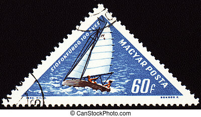 Yacht on post stamp
