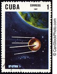 """satélite, estampilla,  """"sputnik-1"""", ruso, poste, primero"""