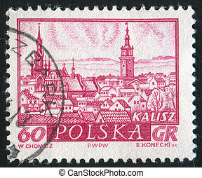 Historic Town Kalisz - POLAND - CIRCA 1960: stamp printed by...