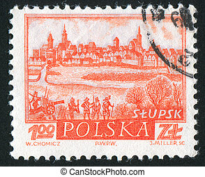Historic Town Slupsk - POLAND - CIRCA 1960: stamp printed by...