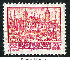 Historic Town Opole - POLAND - CIRCA 1960: stamp printed by...