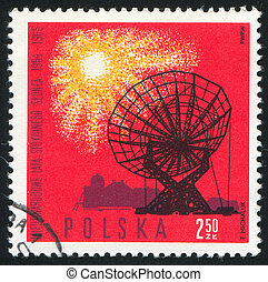 Radio telescope - POLAND - CIRCA 1965: stamp printed by...