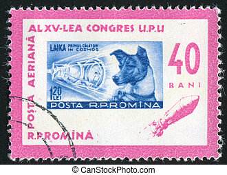 Laika - ROMANIA - CIRCA 1963: stamp printed by Romania,...