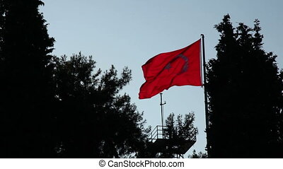 turkish flag silhouette slow motion - Turkish flag...